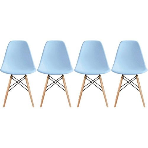 2xhome - Set of Four (4) Blue - Eames Style Side Chair Na...