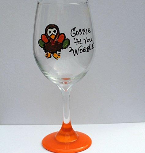 Glass Thanksgiving (Orange Gobble Til You Wobble Turkey Hand Painted Stemmed 20 oz Wine Glass)