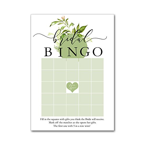 Bingo Game Cards for Bridal Wedding Showers with Watercolor Wild Flowers Leaves Leaf Wreath BBG8017 by Heads Up Girls
