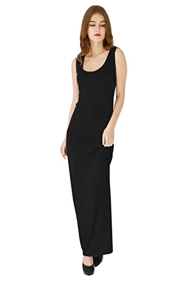 Yming Women S Casual Long Dress Simple Tank Solid Color Sleeveless