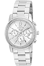 Invicta 21714 Women's Angel Diamond Accented Bezel Silver Tone Dial Steel Bracelet Watch