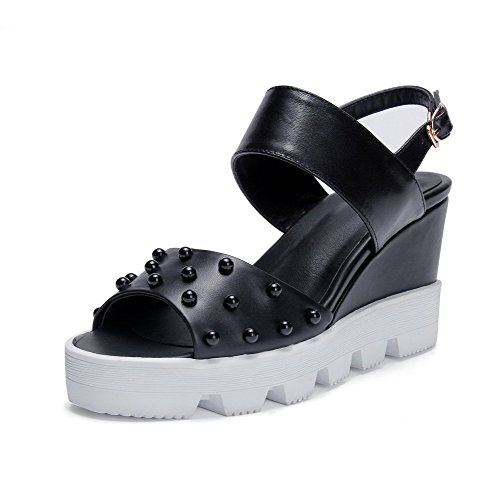 Toe Black Jewels Sandals Solid AllhqFashion with High Peep Womens Heels Cow Leather UqqEPTSw