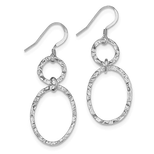 (925 Sterling Silver Hammered Oval Link Dangle Earrings)