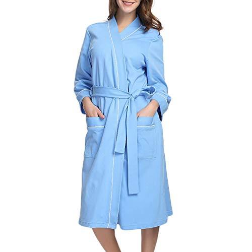 - Women's Cotton Long Kimono Robe Lightweight Bathrobe Soft Sleepwear Loungewear Nightwear (S, Blue)