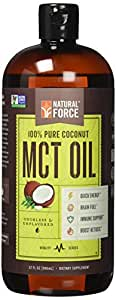 Natural Force® MCT Coconut Oil *RANKED #1 BEST MCT OIL* w/ NO Palm Oil only Organic Coconuts from the Philippines – Project Non-GMO, Certified Paleo, Vegan Safe, Gluten Free, MCT Oil 32 Ounces