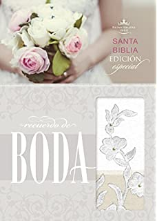 RVR 1960 Biblia Recuerdo de Boda, blanco/lino/encaje s?mil piel