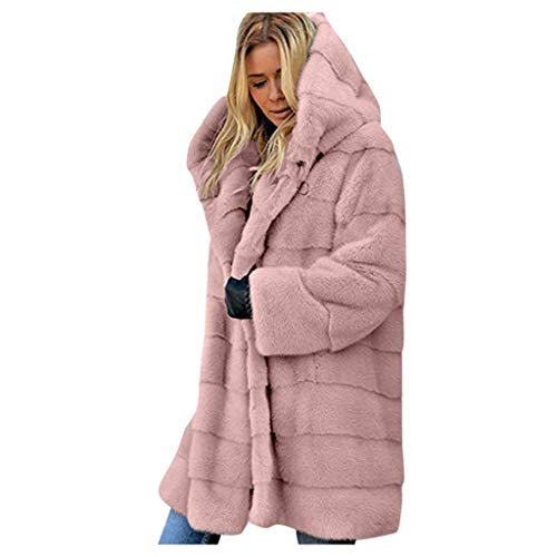 Spring Color  Womens Winter Warm Parka Overcoat Hoodie Long Sleeve Open Front Faux Fur Cardigan Jacket Thick Outwear Pink