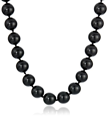 Onyx Bead Necklace (Sterling Silver 12mm Black Onyx Bead Necklace, 17