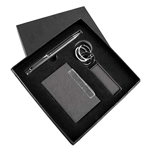 Business Card Holder, Pen, and Key Chain Employee Appreciation Gift Pen Set (Black) ENGRAVEABLE! ()