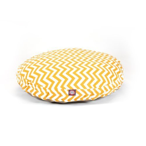 Yellow Chevron Large Round Indoor Outdoor Pet Dog Bed With Removable Washable Cover By Majestic Pet Products by Majestic Pet by Majestic Pet
