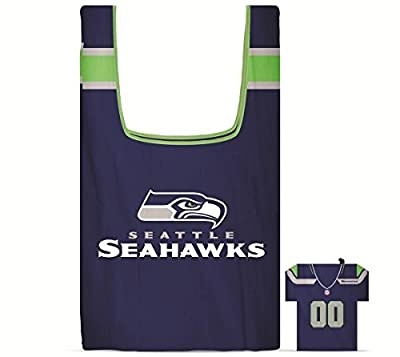 Seattle Seahawks Reusable Grocery Bag with Jersey Style Storage Pouch