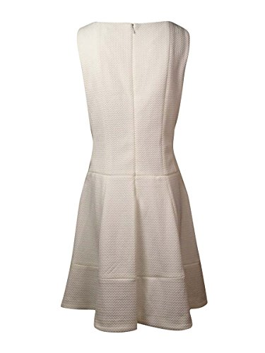 Neck A Women's Klein Dress Calvin Textured Boat White Knit Line OqvOFxf