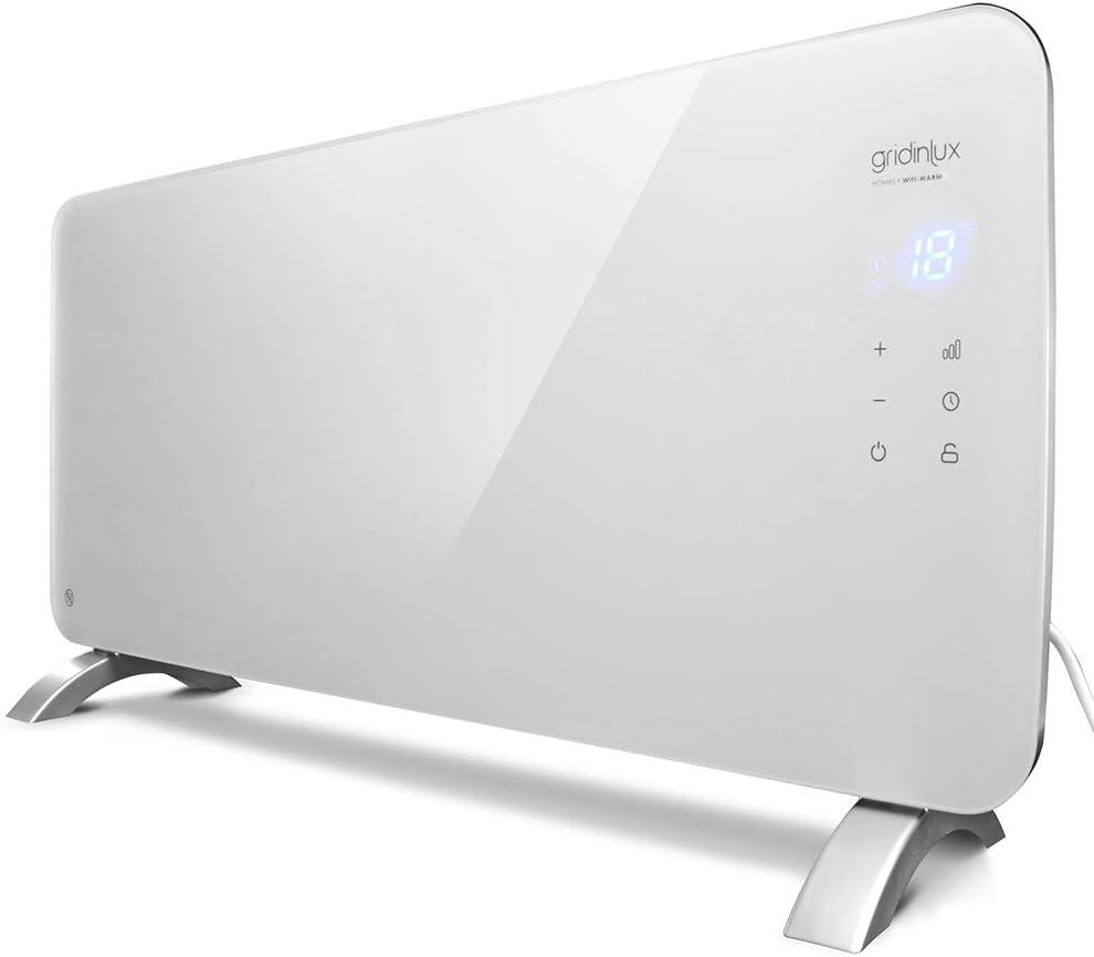 gridinlux. Homely WiFi Warm 1500W. Radiador Cristal Eléctrico, Calefacción Termostato, Convector Calor, WiFi, App, Silencioso, Apto para baños.
