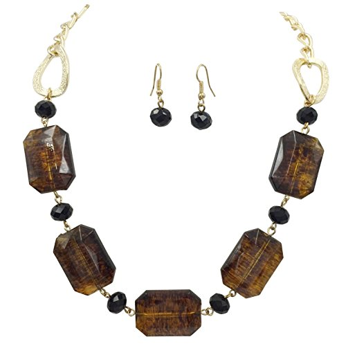 Speckled Brown Tortoise Shell Resin Beads Statement Necklace & Dangle Earrings Set - Shell Beads Necklace Earrings