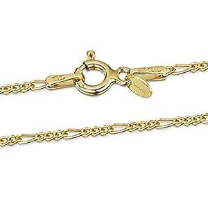Amberta® Bijoux – Collier – Chaîne Argent 925/1000 – Plaqué Or 18K – Maille Figaro (3 en 1) – Largeur 1.5 mm – Longueur…