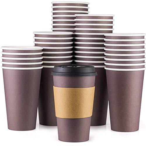 Disposable Coffee Cups With Lids - 16 oz To Go Coffee Cups (90 Set) With Sleeves and Tight Lids Prevent Leaks. Paper Hot Cup Holds Shape With Hot, Cold Drinks. Insulated to Protect Fingers from Heat!