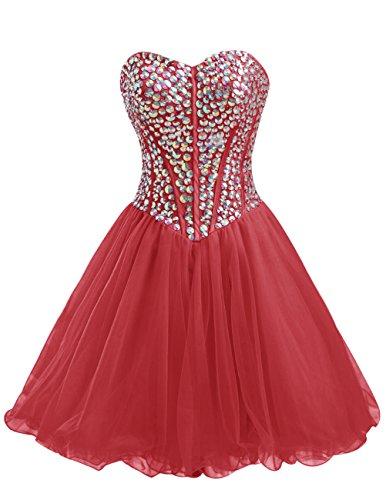 Dresstells®Vestido De Fiesta Mini Princesa Escote Corazón De Tul Con Cuentas Rojo Oscuro