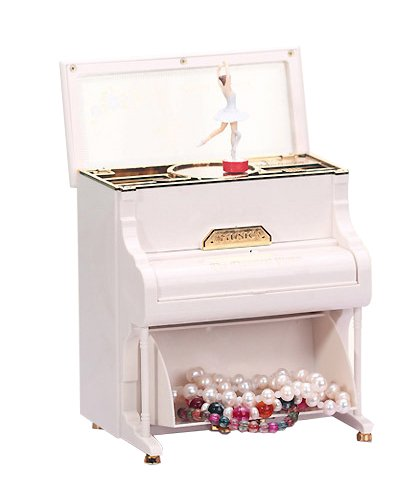 Treasure Box Piano - POPgifts Ballerina Treasure Music Box,Piano Music Box,White