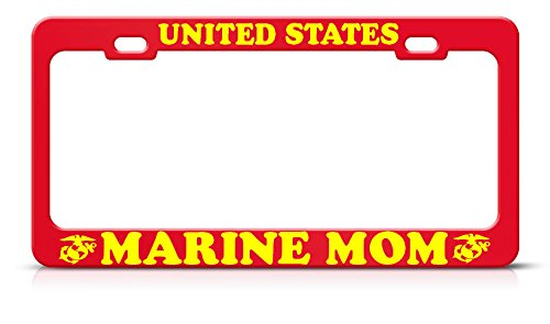 (United States Marine MOM Metal Heavy Duty RED License Plate Frame Perfect for Men Women Car garadge Decor)
