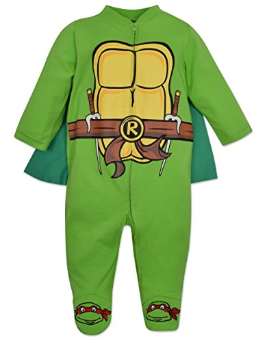 Baby Ninja Turtles Footed Pajamas with Cape (3-6 Months) Green -