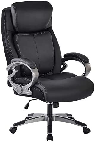 REFICCER High-Back Executive Office Chair 350LB, Bonded Leather Ergonomic Computer Desk Chair with Spring Lumbar Support, 360-Degree Swivel Task Chair for Home Office, Black
