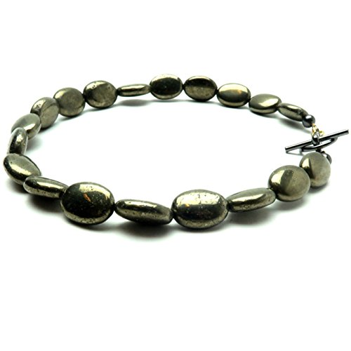 SatinCrystals Pyrite Anklet Boutique Fools Gold Oval Beaded Genuine Gemstone Grounding Crystal Healing B01 (9)
