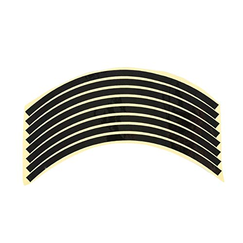 8 Strips/Set Car Motorcycle Wheel Stickers Reflective Rim Motorcycle Protector Tape Decal Tire Rim Decals Wire Car Car-styling - (Color Name: Black) (Best Name Brand Rims)