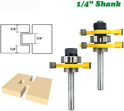 """NO LOGO ZZB-ZT, 6.35mm Federnut Router Bit Set 3/4"""" Lager 3 Zähne T-Form Holz Fräser Flooring Werkzeug for die Holzbearbeitung (Size : 6.35mm)"""