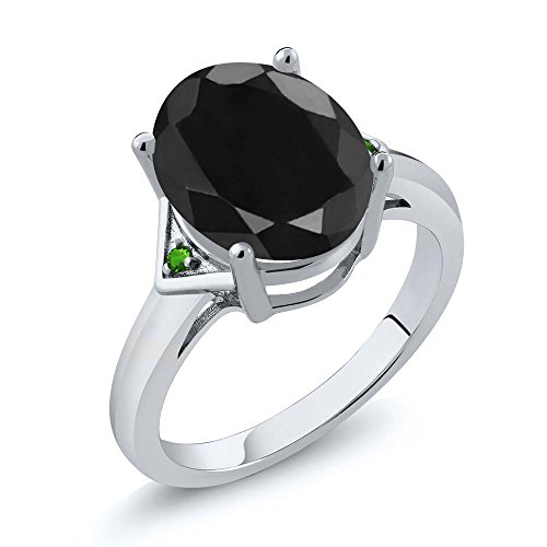 Gem Stone King 4.41 Ct Oval Black Sapphire Green Simulated Tsavorite 925 Sterling Silver Ring (Size 6)