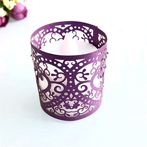 Bigsweety 50pcs Creative Candle Holder Tea Light Wraps Hollow Heart Decorative Tea Light Candle Lampshade (Purple) ()