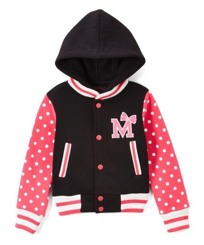 unik Girl Varsity Jacket with Polka Dot Sleeves (X-Large (11/12), Pink) -