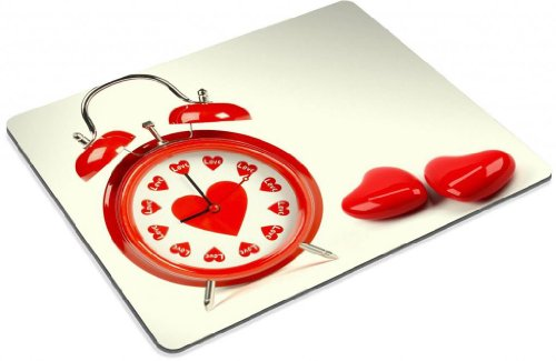 Lovely Red Hearts Decorated Alarm Clock Mouse Pads Customized Made to Order Support Ready 9 7/8 Inch (250mm) X 7 7/8 Inch (200mm) X 1/16 Inch (2mm) High Quality Eco Friendly Cloth with Neoprene Rubber Liil Mouse Pad Desktop Mousepad Laptop Mousepads Comfortable Computer Mouse Mat Cute Gaming Mouse_pad