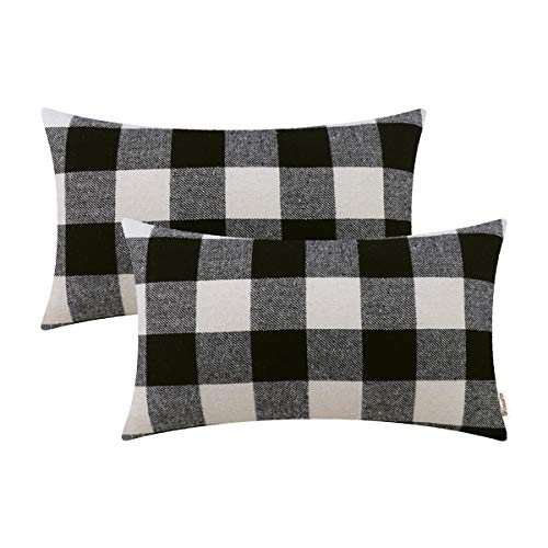 (Brawarm Comfy Buffalo Checks Bolster Pillow Covers Cases for Couch Bed Sofa Fluffy Tartan Plaids Lumbar Cushion Covers Both Sides for Home Decoration 12 X 20 Inches Black & White Pack of 2)