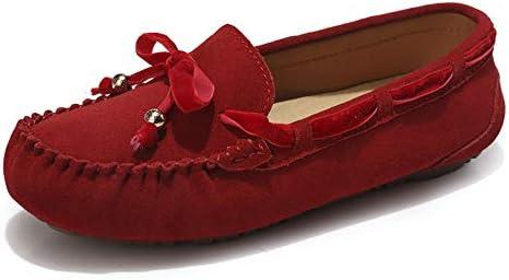 Sunny&Baby Penny Driving Loafer Gamuza Cuero Genuino Señora Casual Mocasines Barco Zapatos de Vestir Antideslizante (Color : Rojo, tamaño : 36 EU)