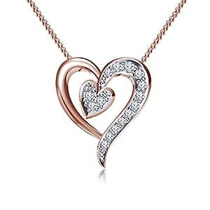 Lilu Jewels Pretty Forma de Corazón Colgante atractivo redondo corte blanco CZ Plata de ley 925bañado en oro rosa de 14K de la mujer joyería