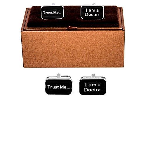 MRCUFF Trust me I am a Doctor Pair Cufflinks in a Presentation Gift Box & Polishing Cloth