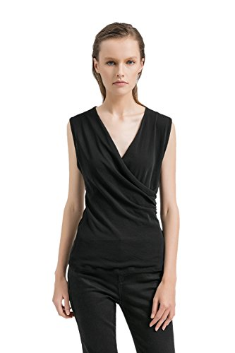 Sleeveless Neckline Top (APRLL Womens Deep V Neck Sleeveless Crossover Ruched Side Tunic Tank Tops Slim Blouse (XS-XL))