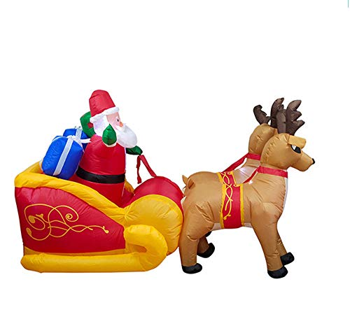 callm Christmas Inflatable Santa Claus Reindeer Party Decoration Lighted Sleigh Pulled for Wonderful Festival for $<!--$99.99-->