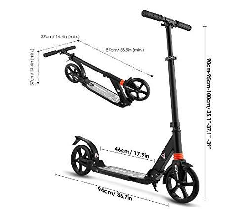 Klappbar H/öhenverstellbar Roller F/ür Erwachsene Leicht Scooter T-Style Stabile Aus Aluminiumlegierung fiugsed Erwachsene//Kinde City Roller Scooter Big Wheel Cityroller und 200 mm gro/ßen R/ädern