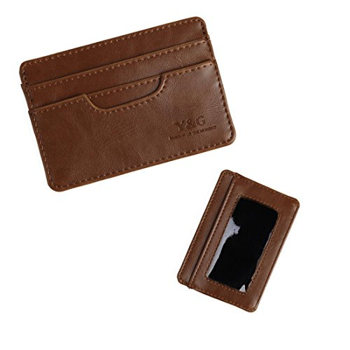 03. YCM040102 Brown Money Clip Id Card Holder 5 Card Holder Xmas Gifts By Y&G