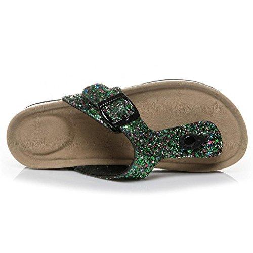 Femme Plat Rome Sangle Cross Vert Occasionnel Chaussures Toe Plates Sandales Pantoufles Mode Plage de Double Été Sequine Sandales Été Chaussures Boucle JIANGfu dPSWnd