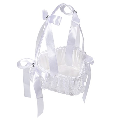 Juvale Flower Girl Basket - White Flower Basket, Heart-Shaped Wedding Basket Matrimony Processions, Cute Satin Holder Rose Petals, Reception Decoration, White, 9.2 x 6.7 x 6.7 inches (Heart Flower Girl Basket)