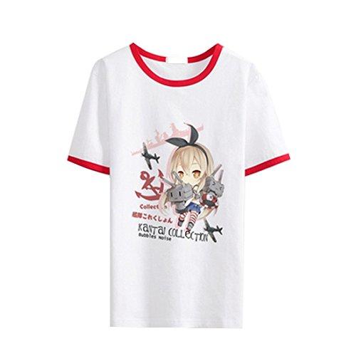 AnimeTown Kantai Collection Fleet Girls Costume Anime Short Sleeves Tee T-Shirt (L, Red (Saint Gabriel Costume)