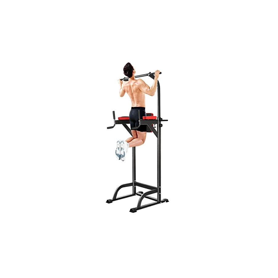 Adjustable Multi Function Home Strength Training Fitness Abs Workout Knee Crunch Triceps Pull Up Chin Up Station Power Tower [US STOCK]