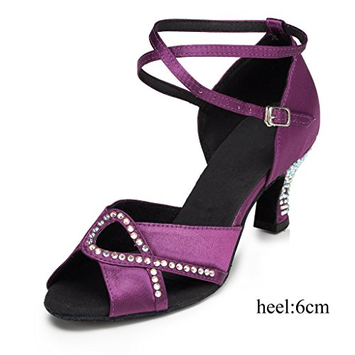 Salsa Shoes Doris Tango Wedding Purple Women's Satin Party Glitter Morden US Professional Ballroom Dance Latin B Rhinestone 10 M IwCROwq