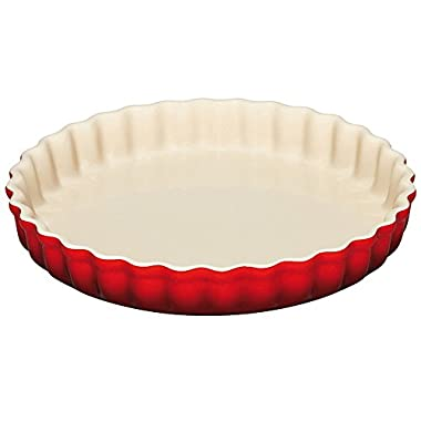 Le Creuset Stoneware 1.45-Quart Tart Dish, Cerise (Cherry Red)