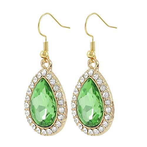 Light Green Rhinestone Water Tear Drop Gold Tone Women's Handmade Vintage Style Dangle Earrings