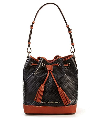 new-authentic-dooney-and-bourke-cordova-drawstring-embossed-leather-shoulder-bag-charcoal