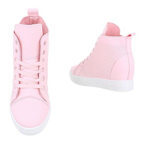 Ital-Design Sneakers High Damenschuhe Keilabsatz/Wedge Schnürsenkel Freizeitschuhe Rosa
