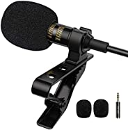 PoP voice Professional Lavalier Lapel Microphone Omnidirectional Condenser Mic for iPhone Android Smartphone,R